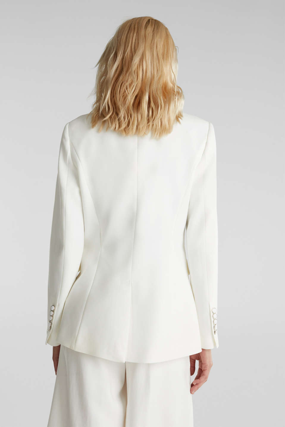 One-button blazer with stretch, WHITE, detail image number 3