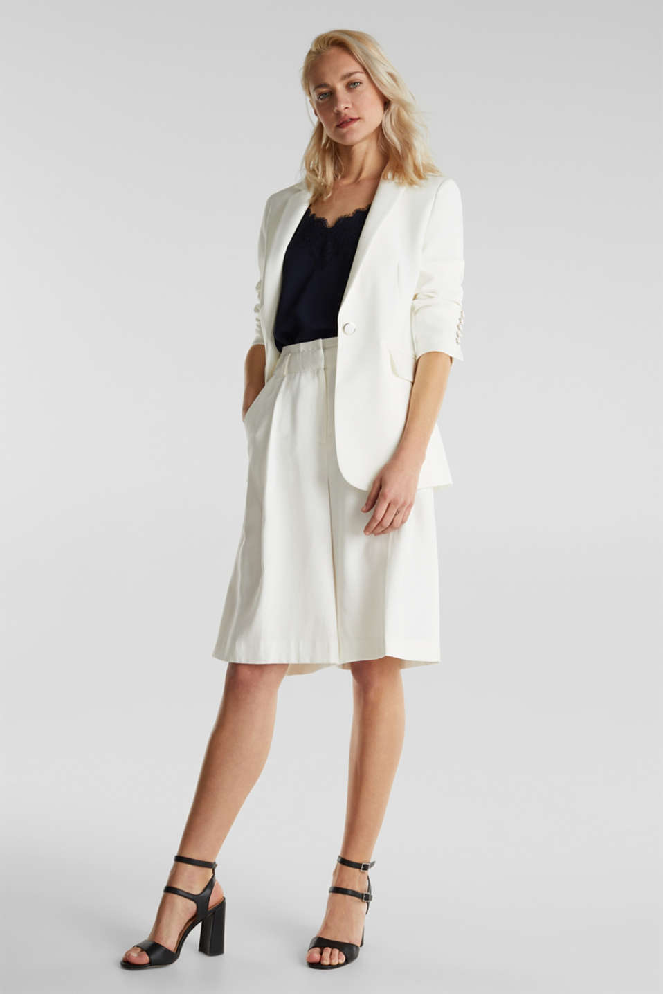 One-button blazer with stretch, WHITE, detail