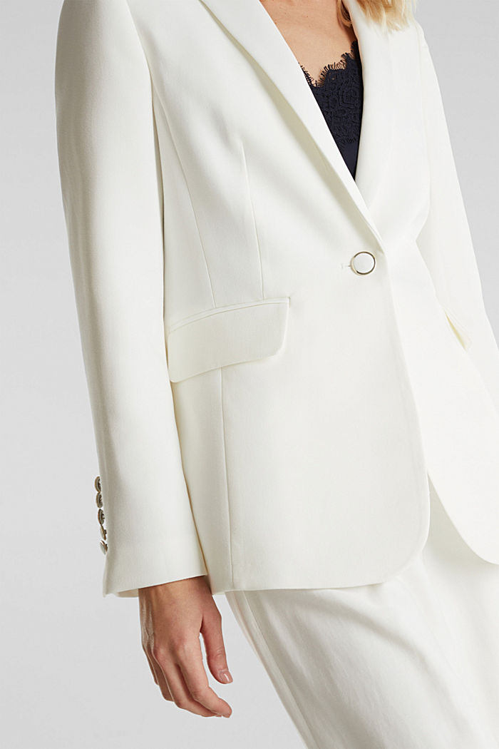 One-button blazer with stretch, WHITE, detail image number 2