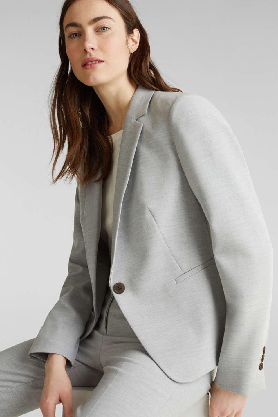 SUMMER BIZ mix + match stretch blazer, LIGHT GREY 5, detail image number 5