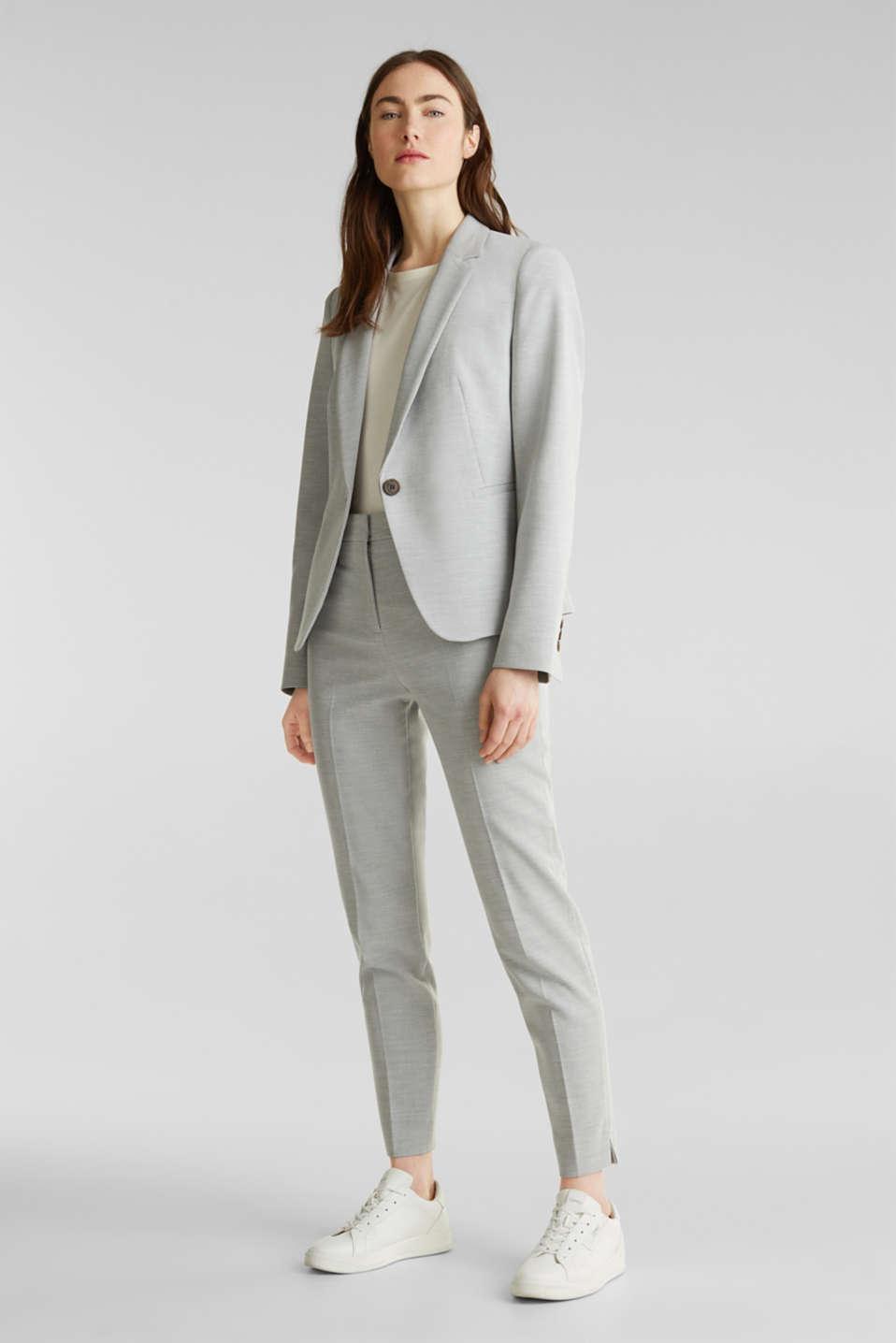 SUMMER BIZ mix + match stretch blazer, LIGHT GREY 5, detail image number 1