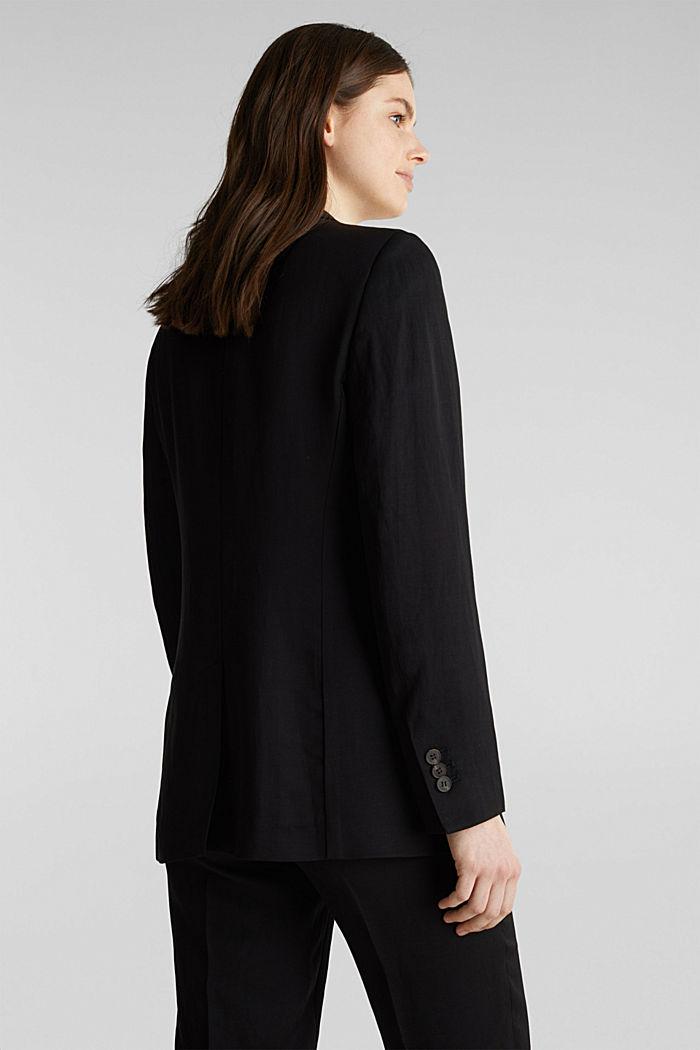 À teneur en lin mélangé: le blazer cintré à 1 bouton, BLACK, detail image number 3