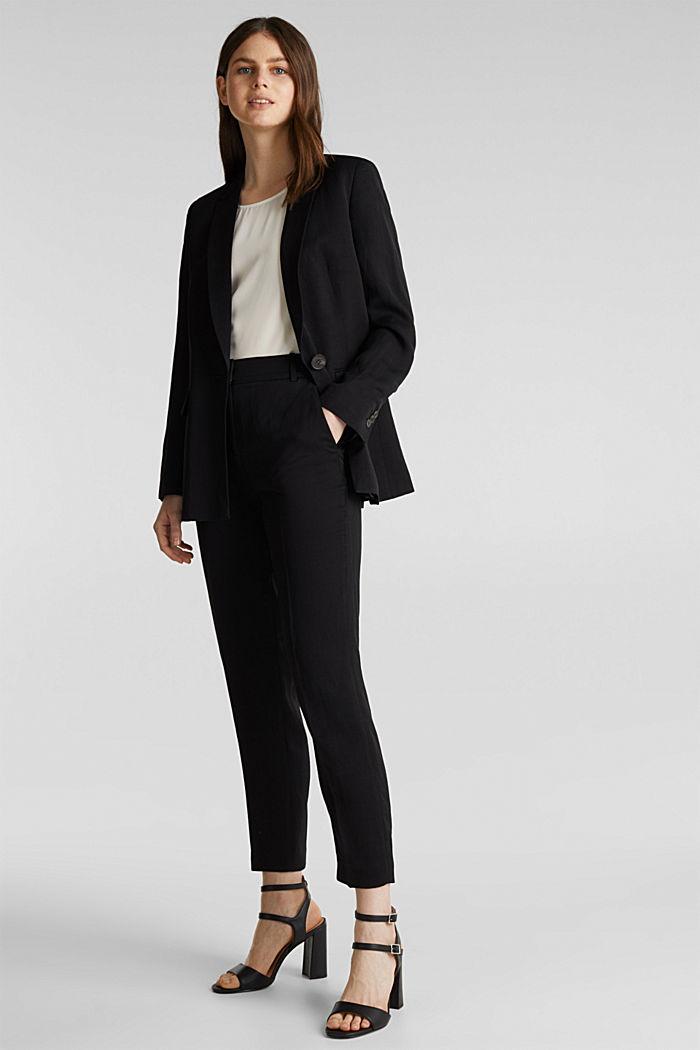 À teneur en lin mélangé: le blazer cintré à 1 bouton, BLACK, detail image number 1