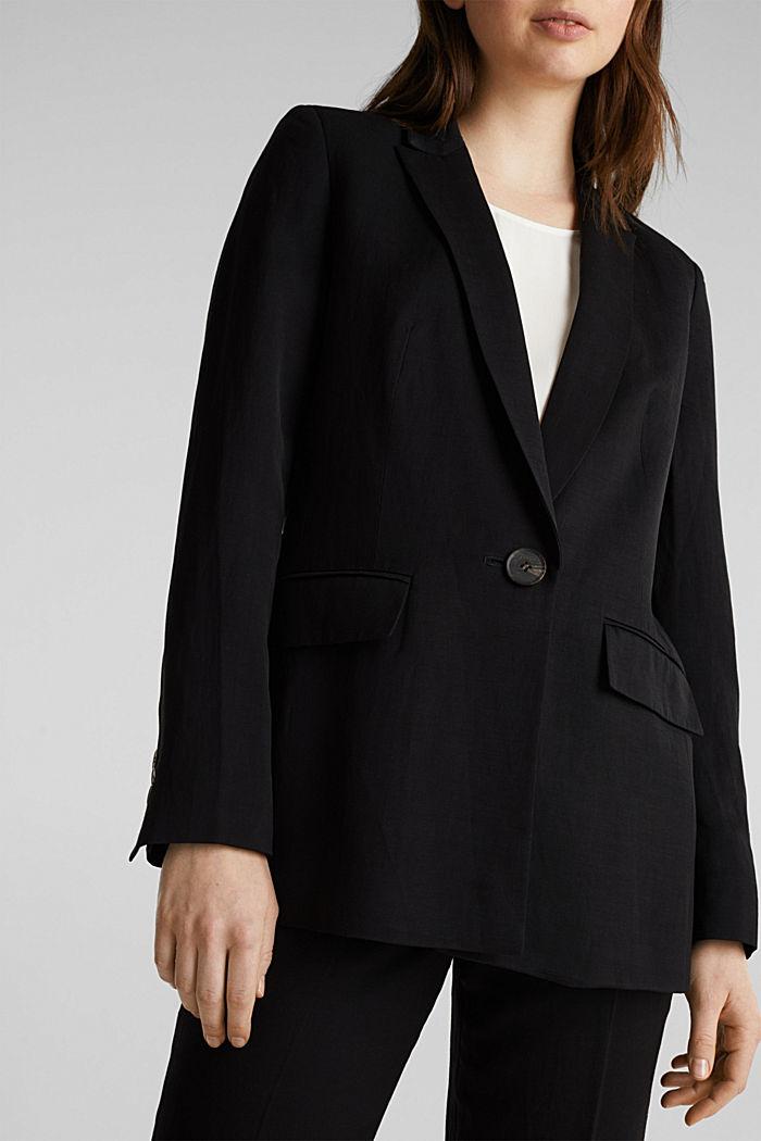 À teneur en lin mélangé: le blazer cintré à 1 bouton, BLACK, detail image number 2