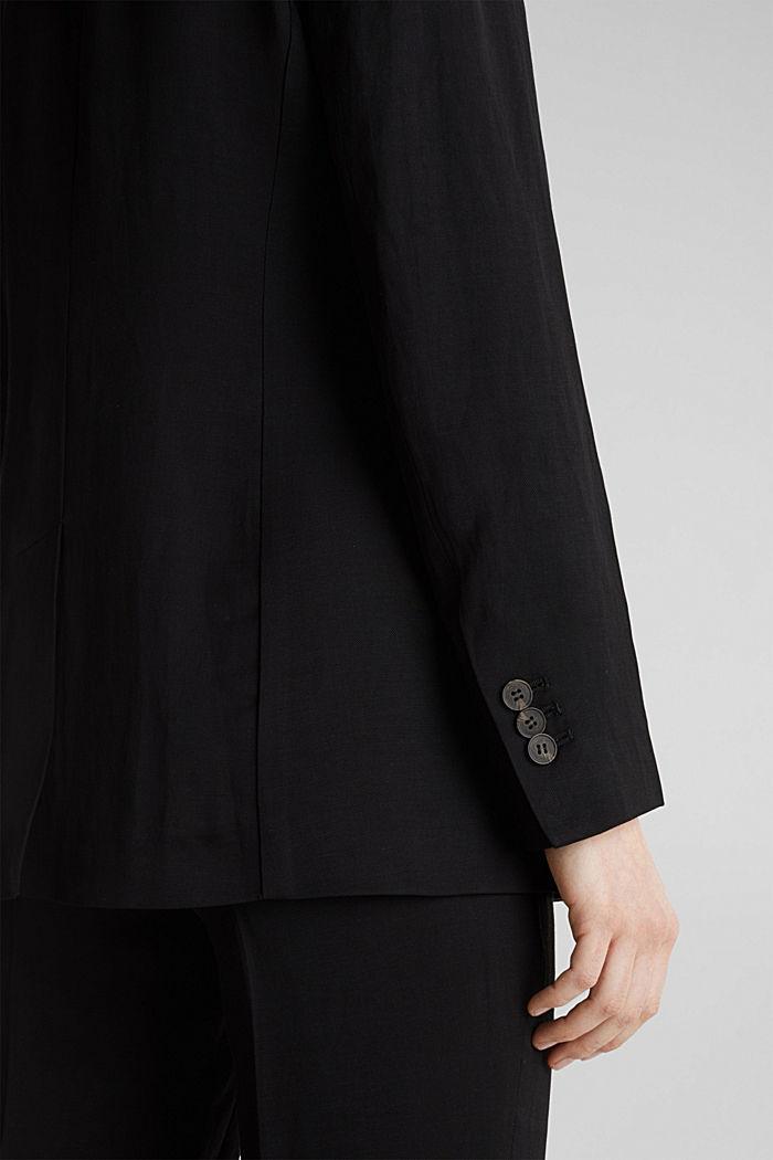 Mit Leinen: taillierter 1-Knopf-Blazer, BLACK, detail image number 5