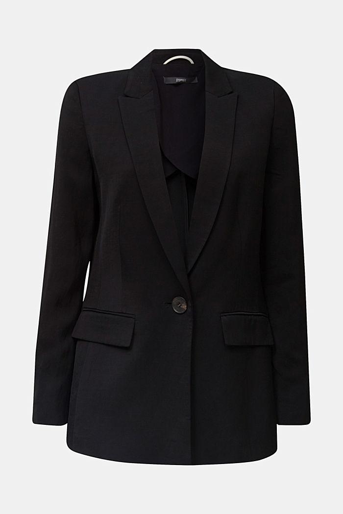 Mit Leinen: taillierter 1-Knopf-Blazer, BLACK, detail image number 6