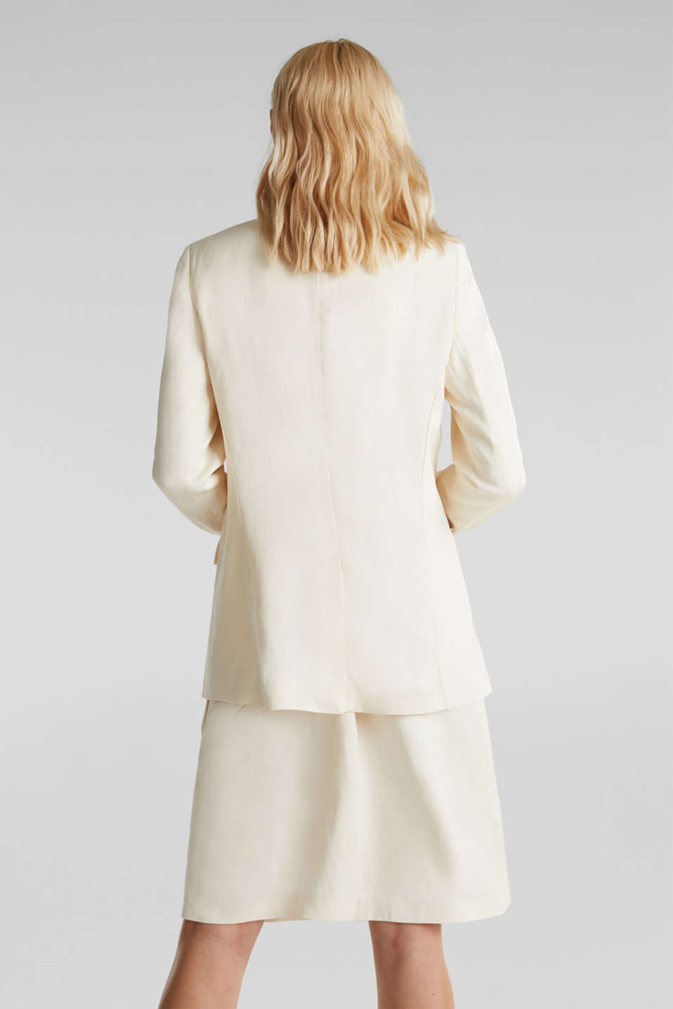 Linen blend: fitted 1-button blazer, SAND, detail image number 3