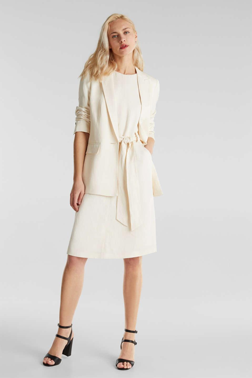 Linen blend: fitted 1-button blazer, SAND, detail image number 1