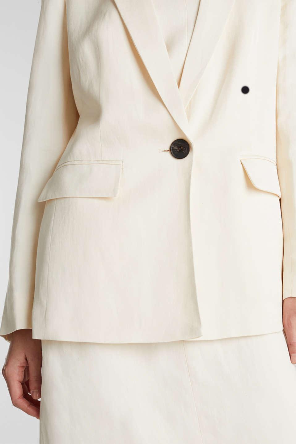 Linen blend: fitted 1-button blazer, SAND, detail image number 2