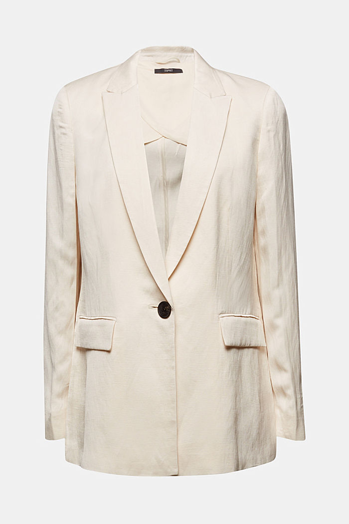 Linen blend: fitted 1-button blazer, SAND, detail image number 6