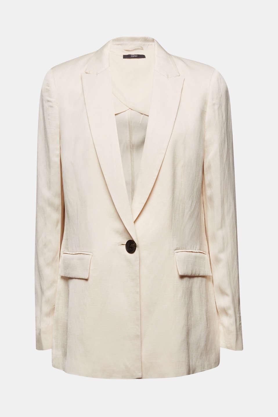 Linen blend: fitted 1-button blazer, SAND, detail image number 6