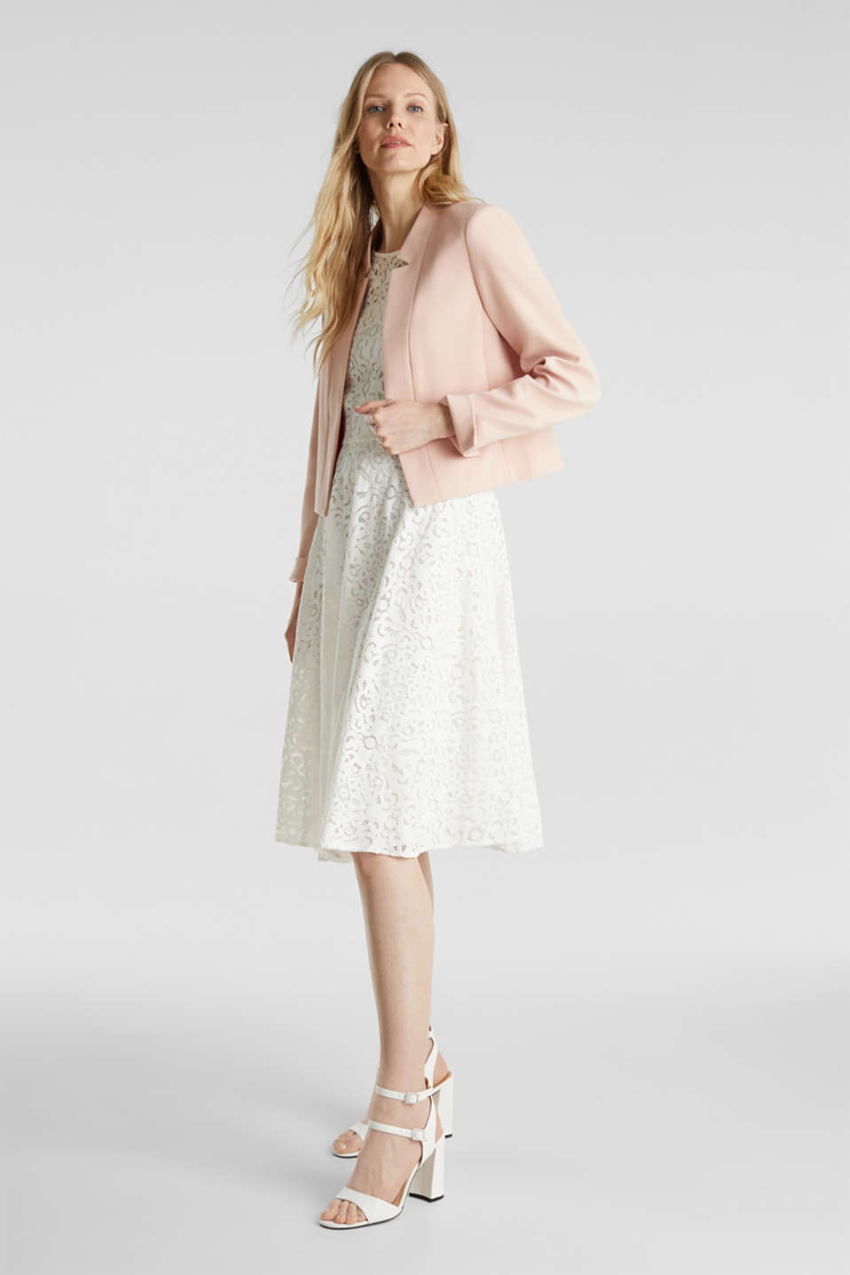 Open short blazer with a popped collar, PASTEL PINK, detail image number 1