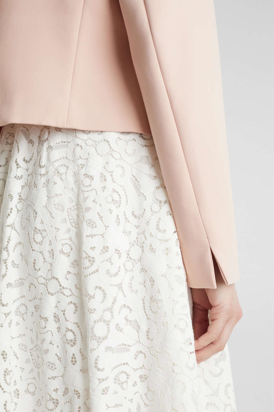 Open short blazer with a popped collar, PASTEL PINK, detail image number 5