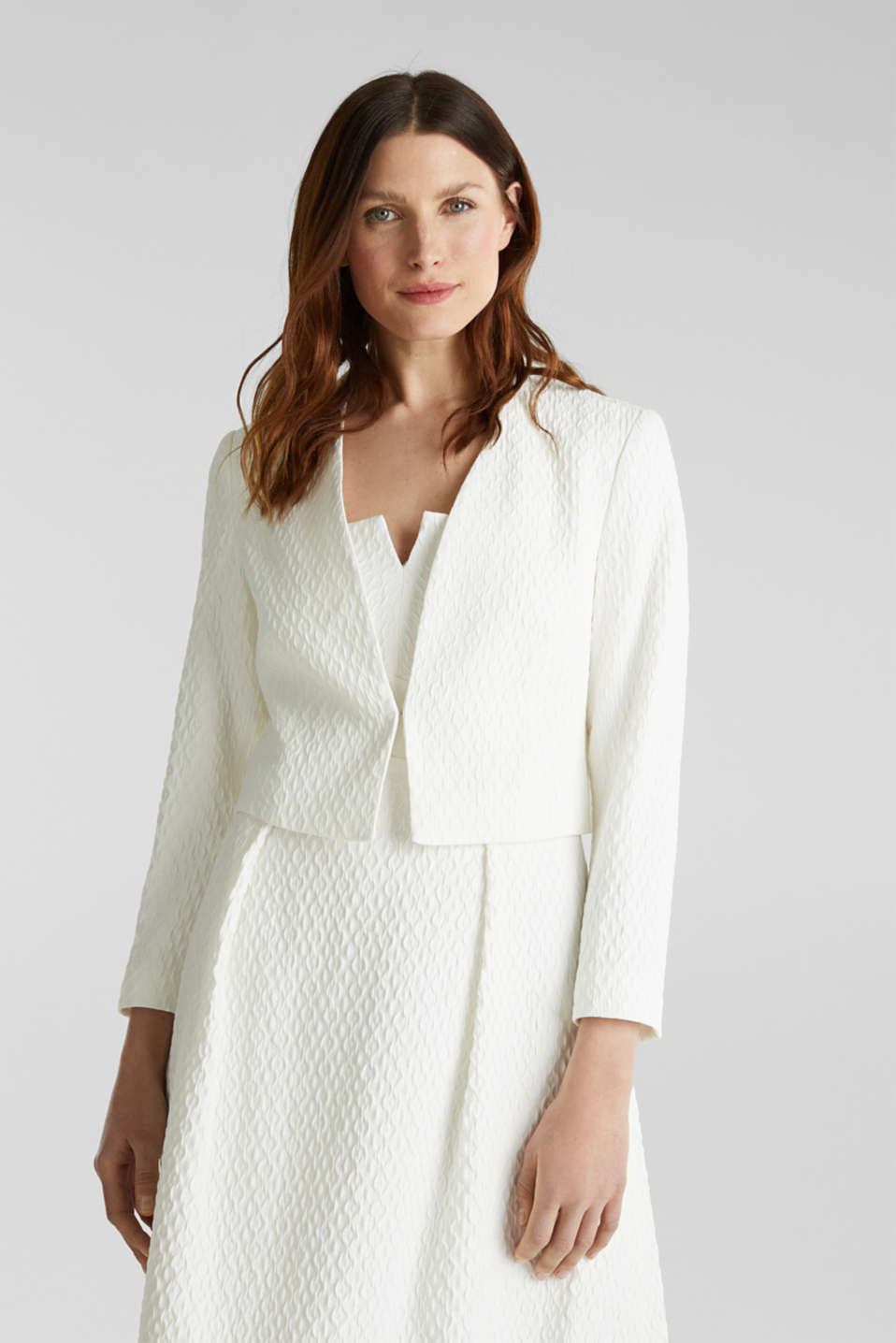 Textured woven bolero, OFF WHITE, detail image number 0
