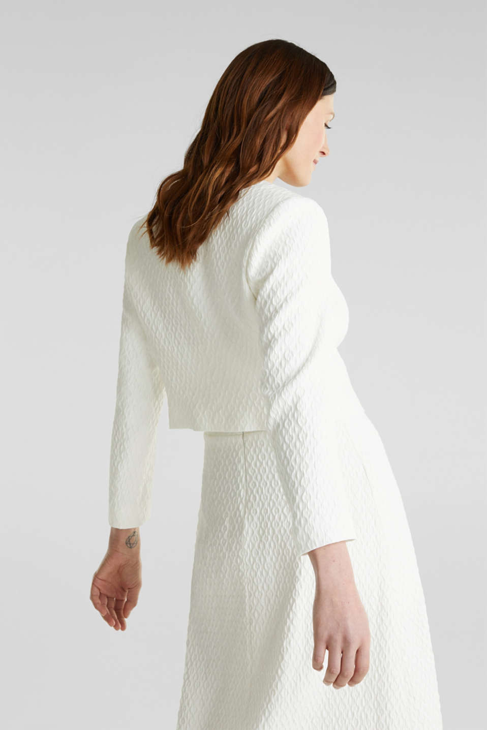 Textured woven bolero, OFF WHITE, detail image number 3