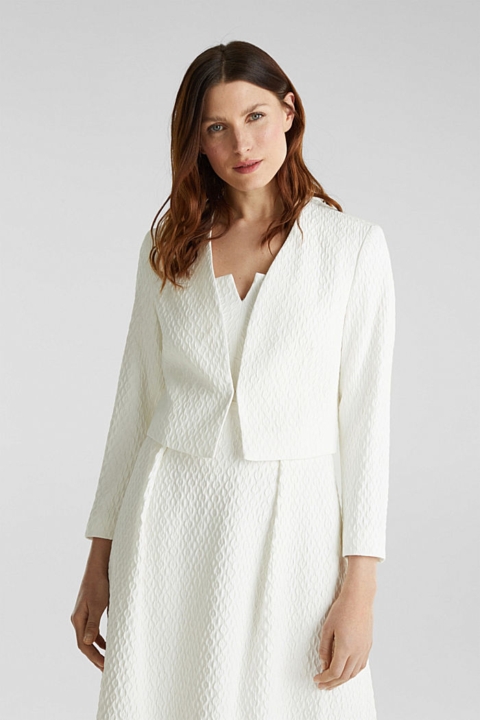 Textured woven bolero, OFF WHITE, detail image number 5