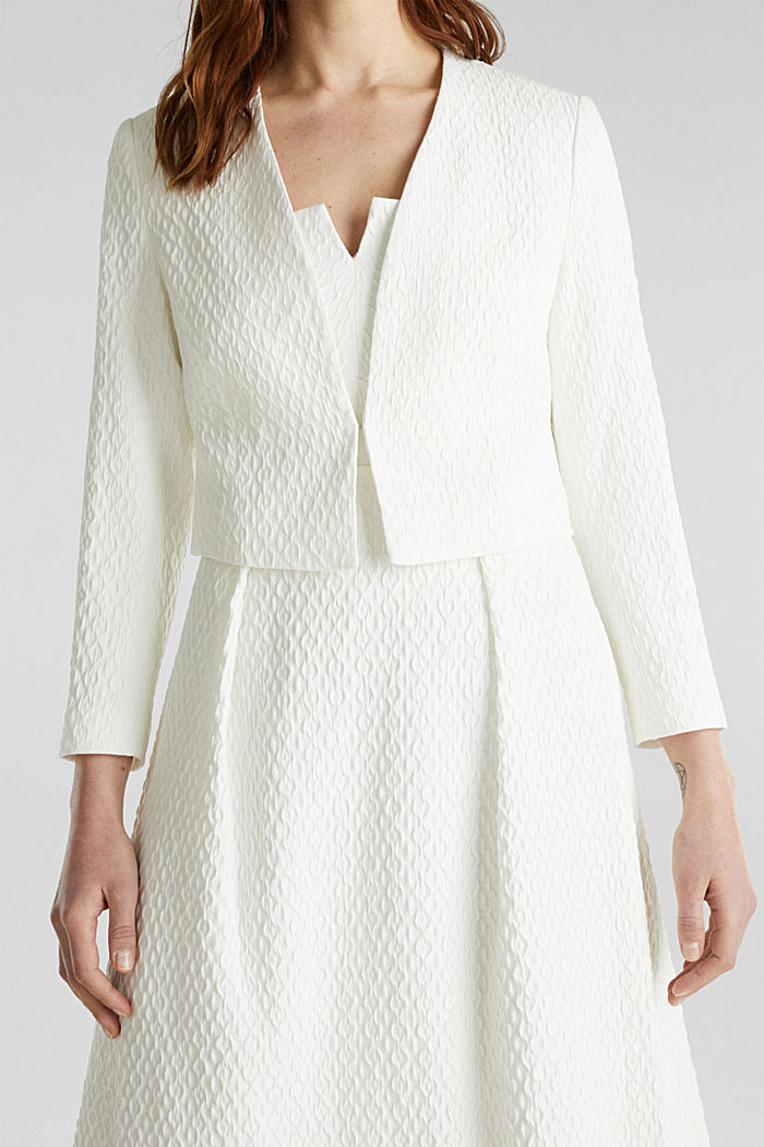 Textured woven bolero, OFF WHITE, detail image number 2
