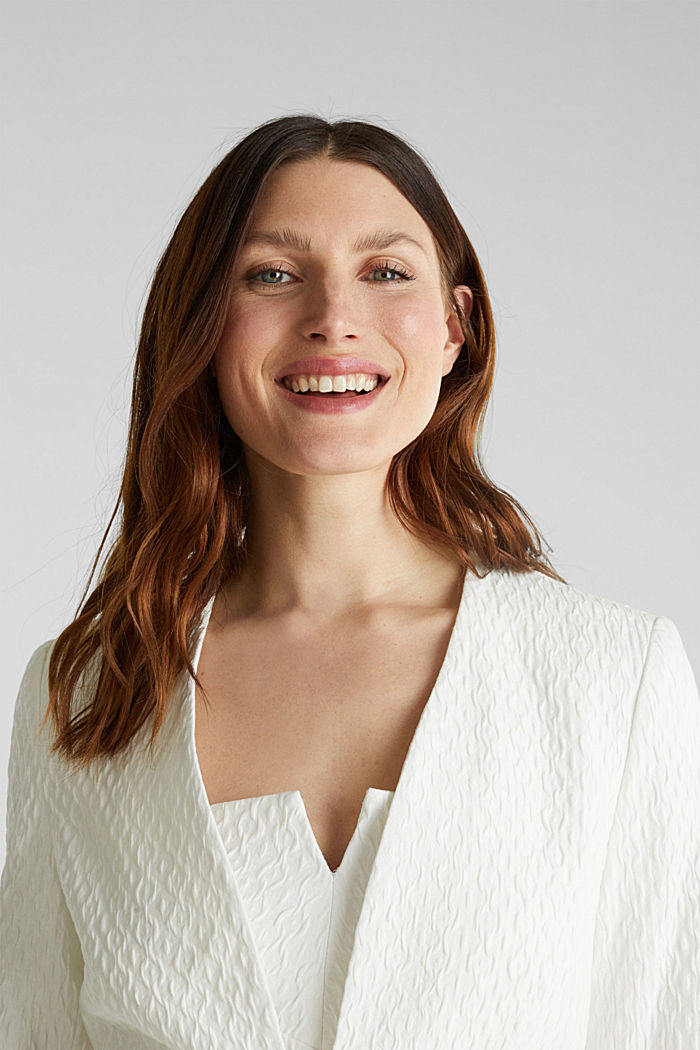 Textured woven bolero, OFF WHITE, detail image number 6