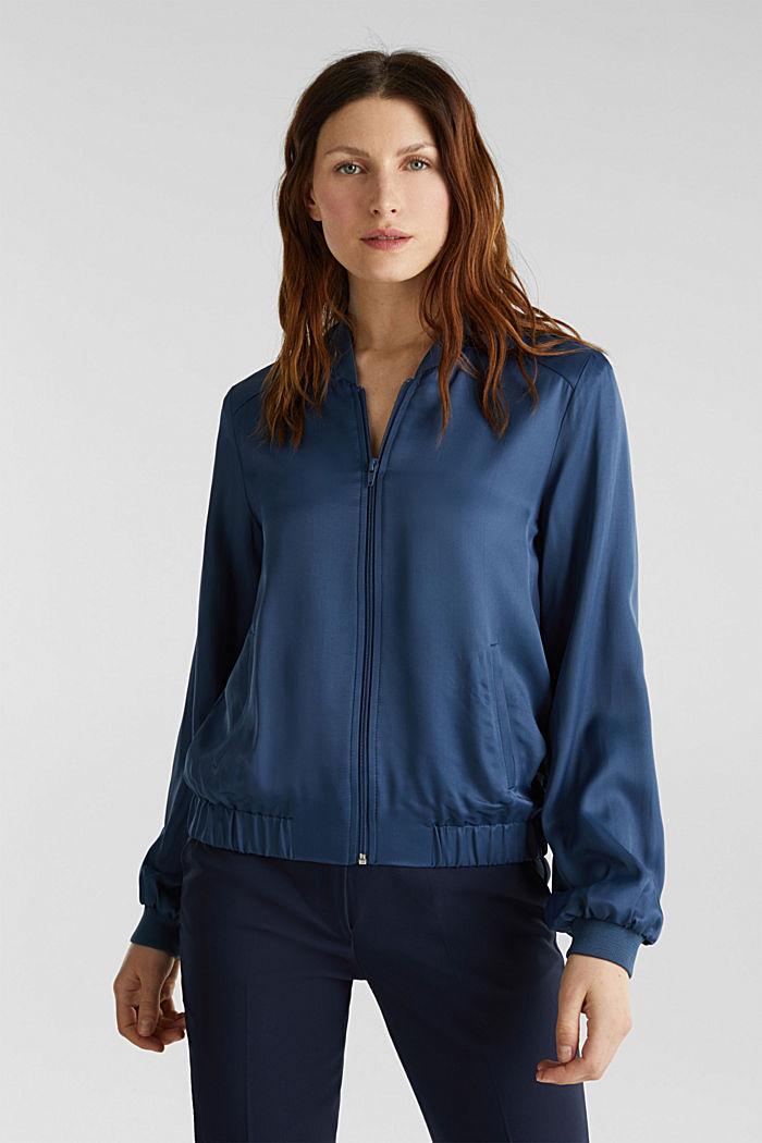 Satin bomber jacket, PETROL BLUE, detail image number 0