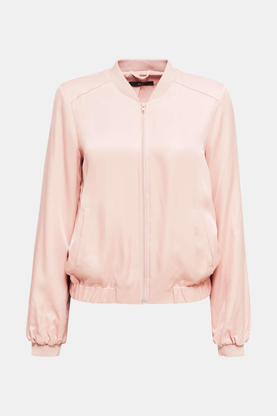 Satin bomber jacket, NUDE, detail image number 6