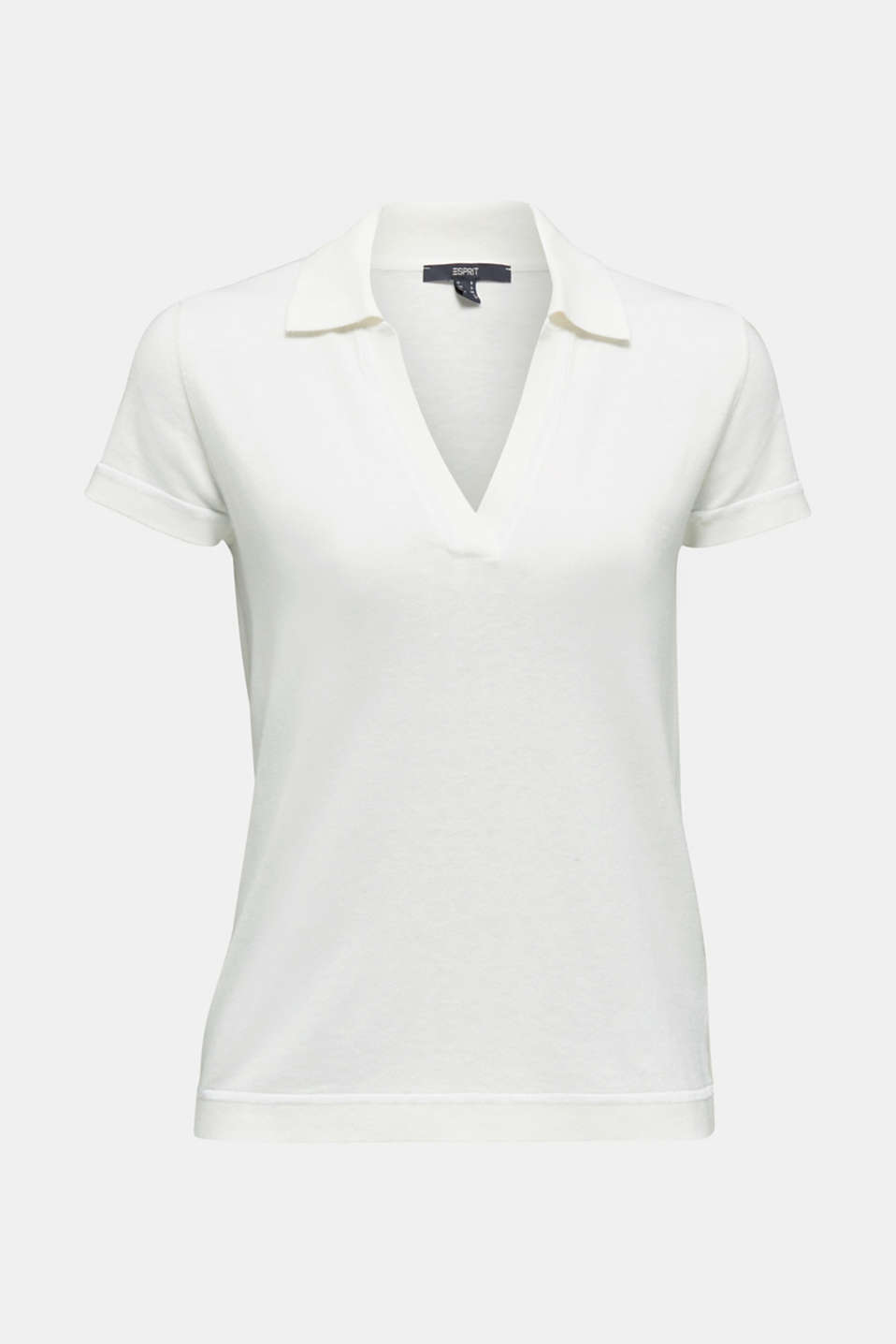 Short-sleeved polo jumper with silk, OFF WHITE, detail image number 5