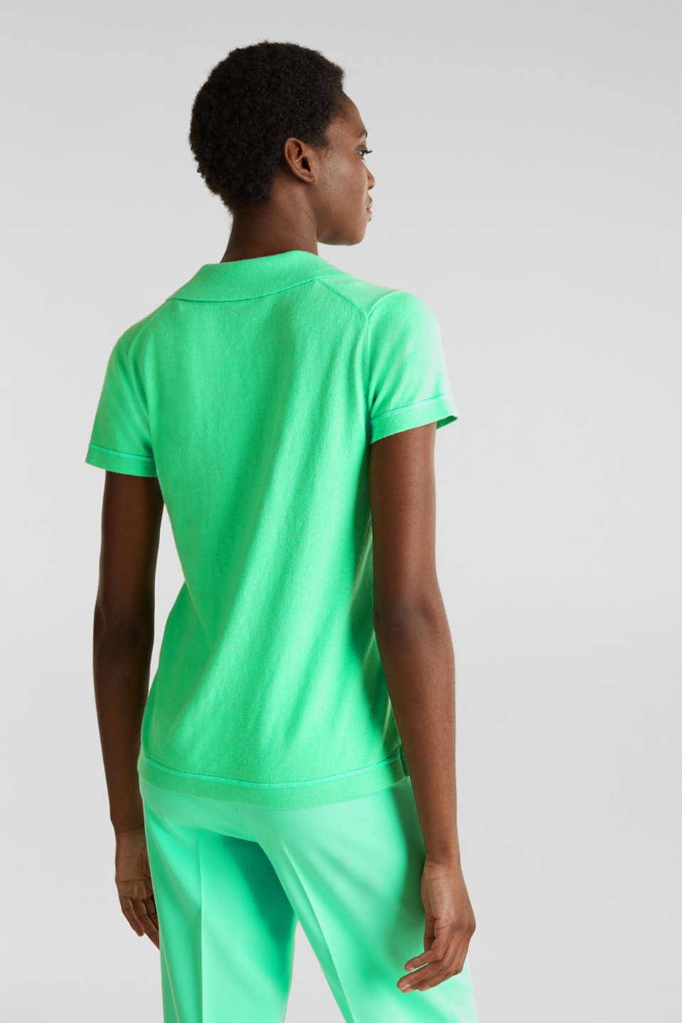 Short-sleeved polo jumper with silk, LIGHT GREEN, detail image number 2