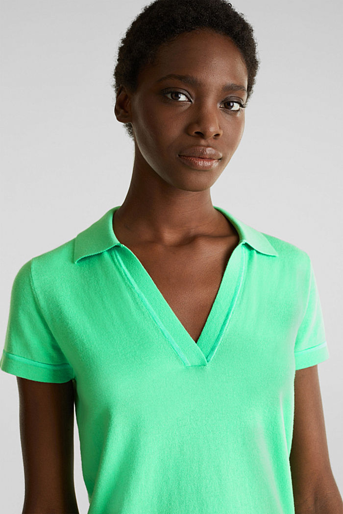 Short-sleeved polo jumper with silk, LIGHT GREEN, detail image number 4