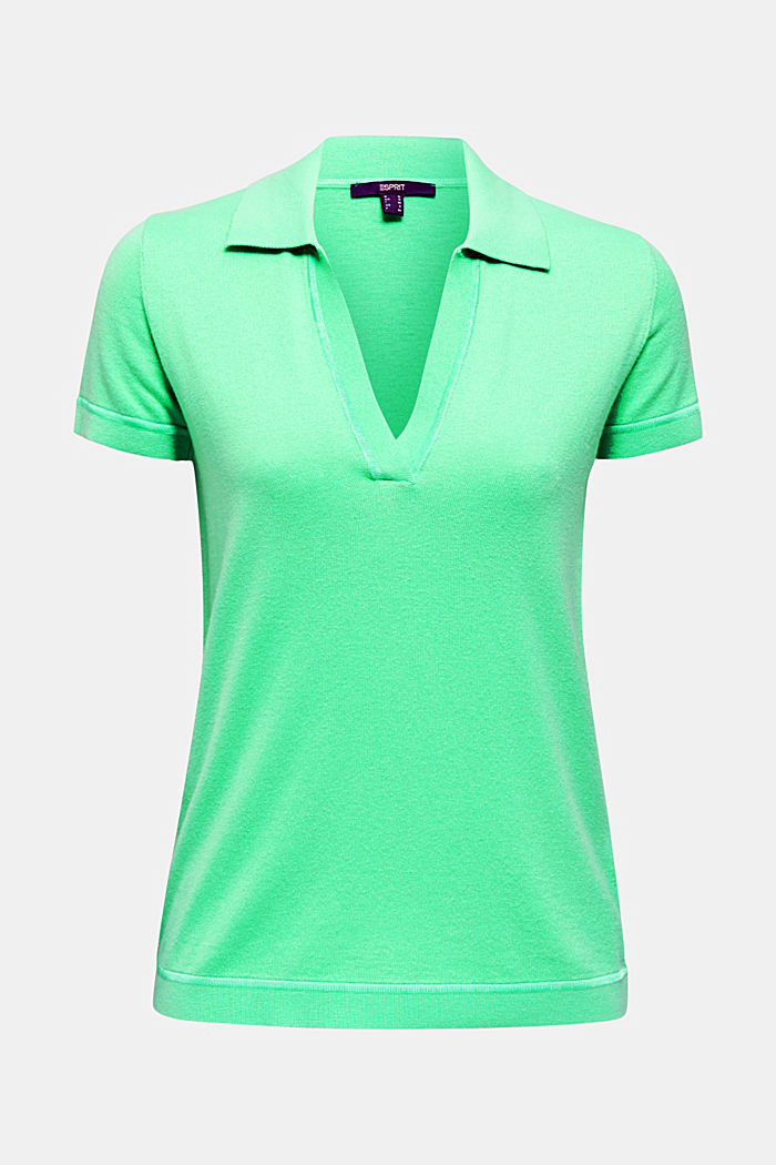 Short-sleeved polo jumper with silk, LIGHT GREEN, detail image number 5