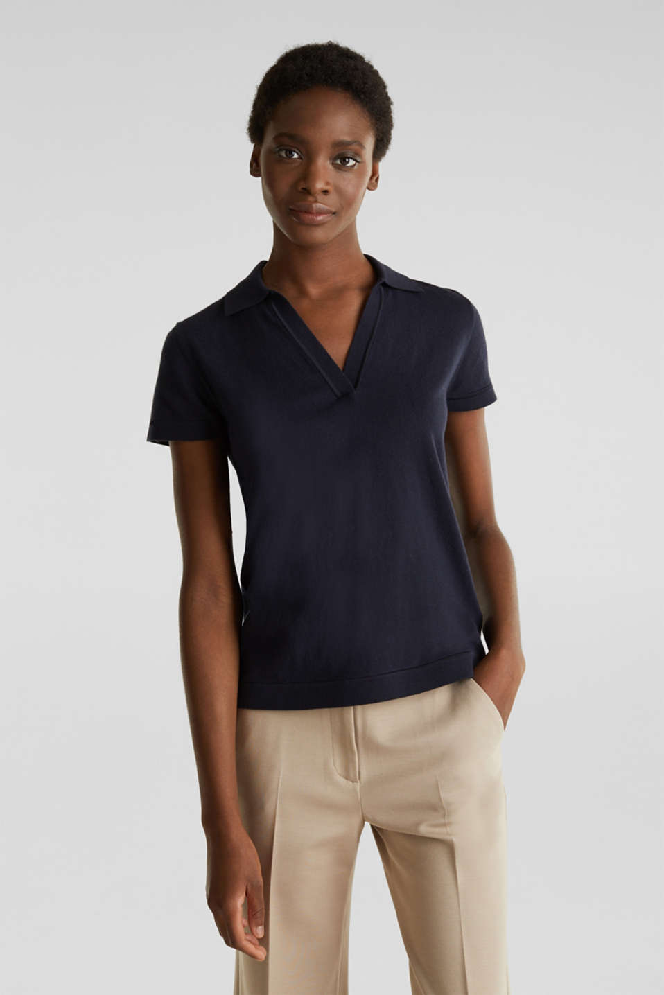With silk: polo-style short-sleeved jumper, NAVY, detail image number 0