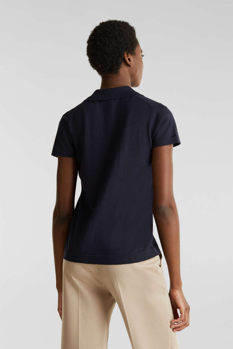 With silk: polo-style short-sleeved jumper, NAVY, detail image number 2