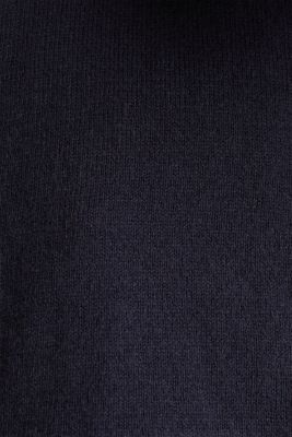 Short-sleeved polo jumper with silk, NAVY, detail