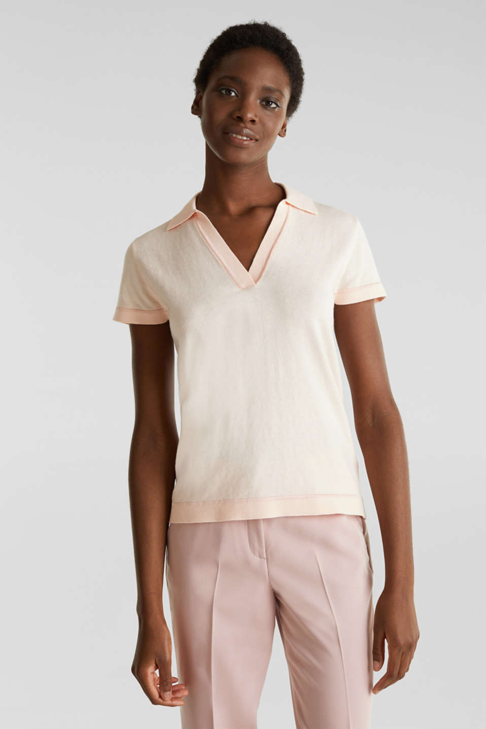 Short-sleeved polo jumper with silk, PASTEL PINK, detail image number 0