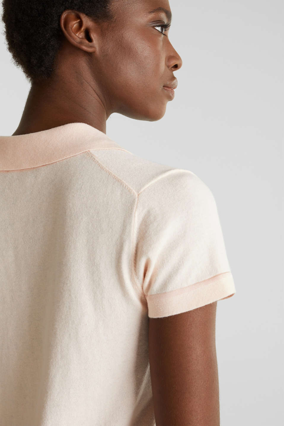 Short-sleeved polo jumper with silk, PASTEL PINK, detail image number 6
