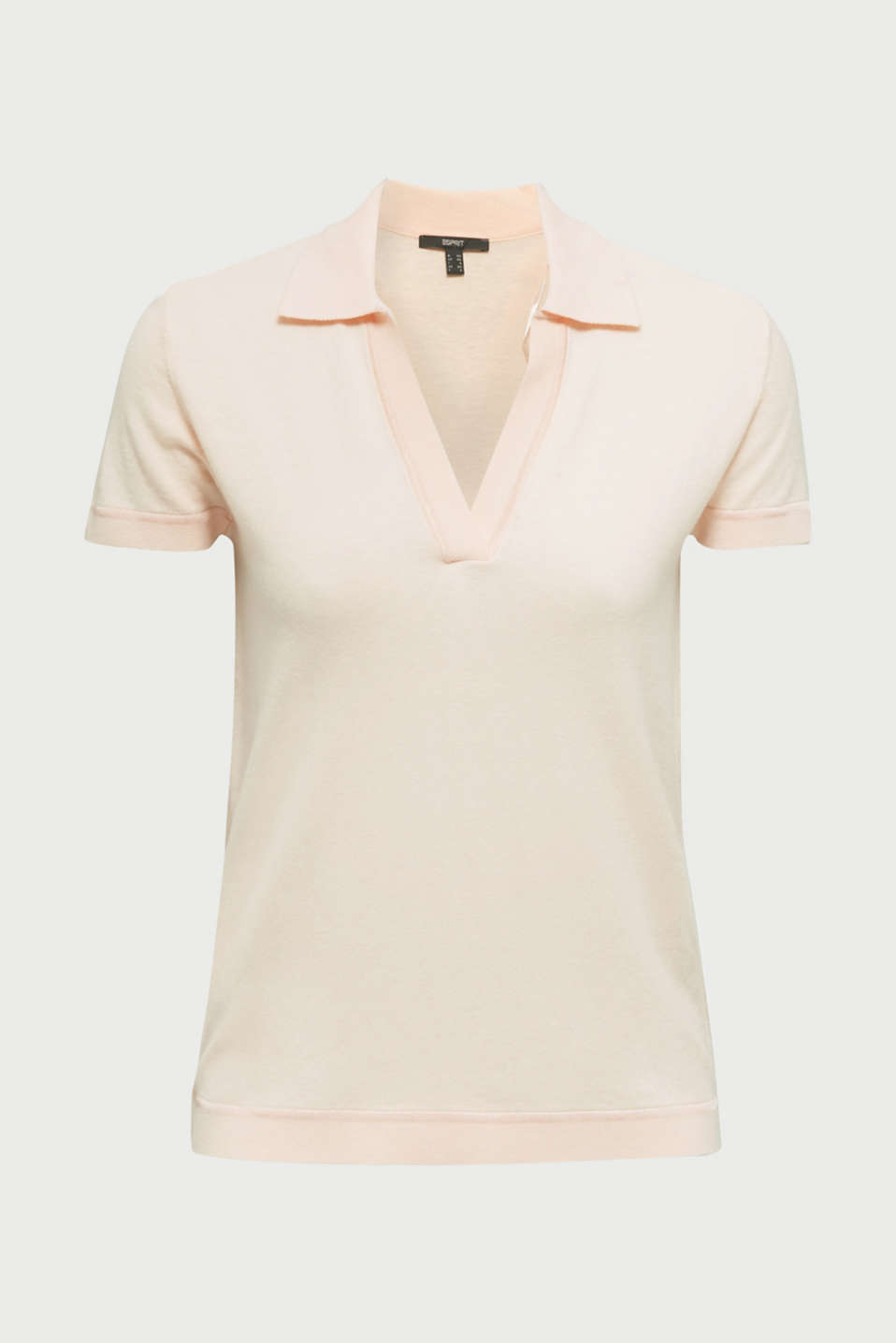 Short-sleeved polo jumper with silk, PASTEL PINK, detail image number 8