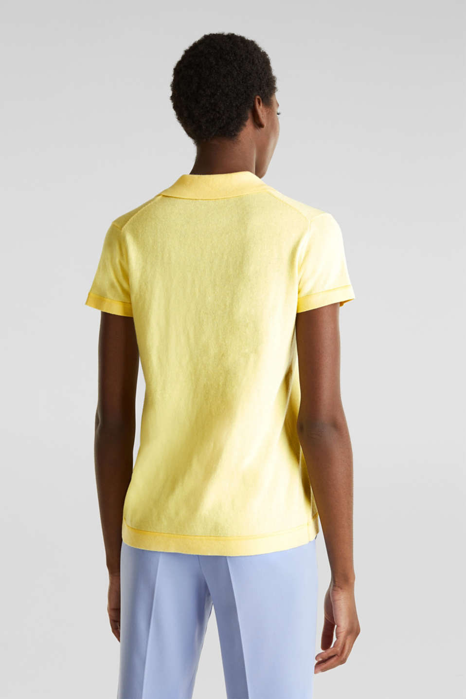 With silk: polo-style short-sleeved jumper, LIME YELLOW, detail image number 3