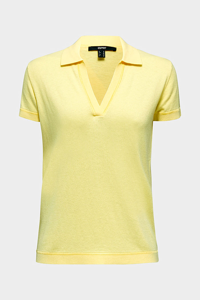 Mit Seide: Kurzarm-Polo-Pullover, LIME YELLOW, detail image number 6