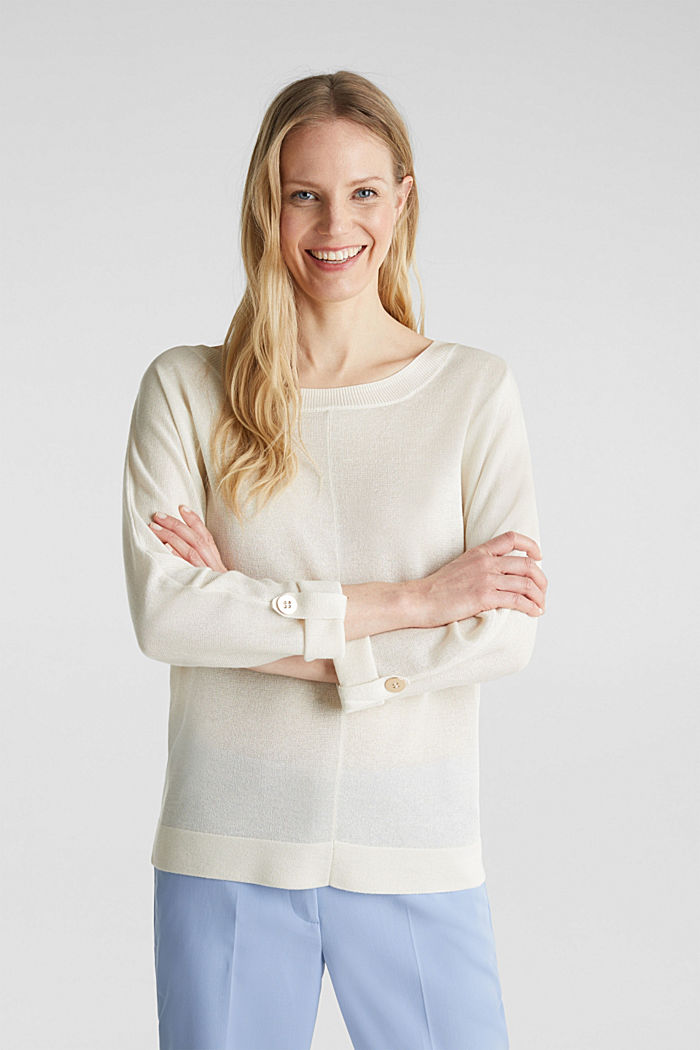 Jumper with batwing sleeves made of crêpe yarn, OFF WHITE, detail image number 0