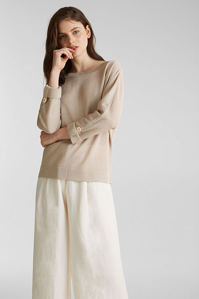 Jumper with batwing sleeves made of crêpe yarn, LIGHT BEIGE, detail image number 0