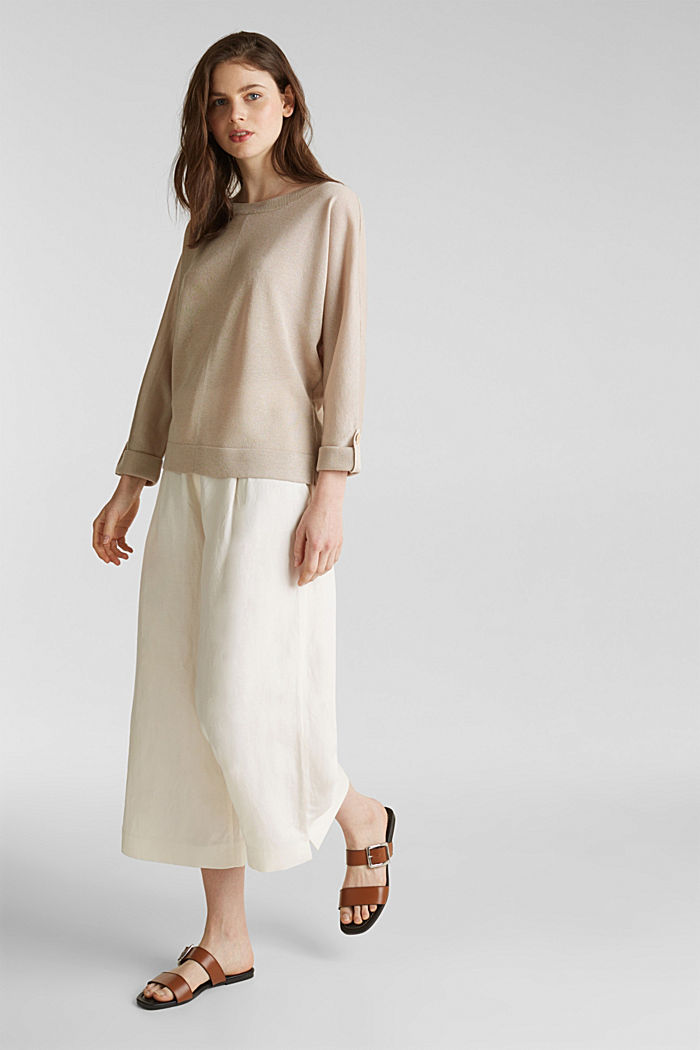 Jumper with batwing sleeves made of crêpe yarn, LIGHT BEIGE, detail image number 1