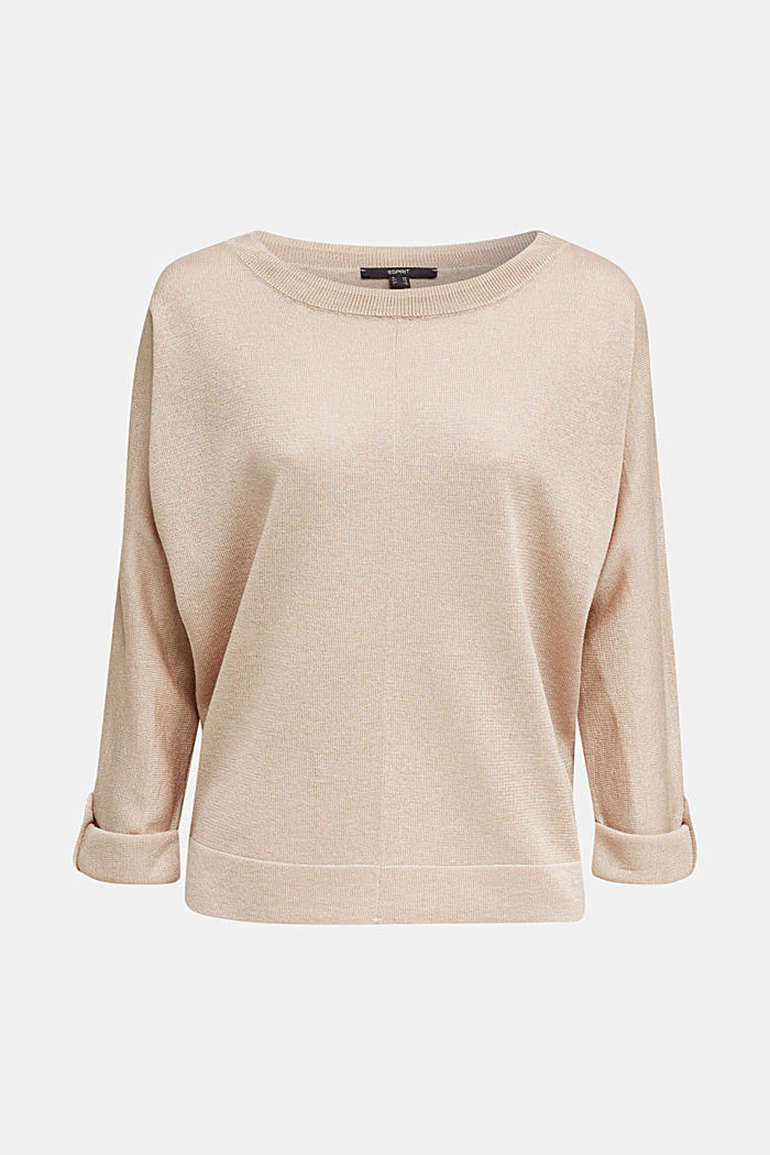 Jumper with batwing sleeves made of crêpe yarn, LIGHT BEIGE, detail image number 7