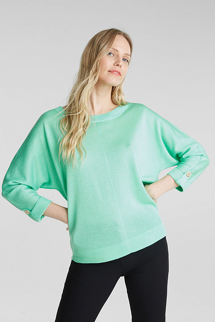 Jumper with batwing sleeves made of crêpe yarn, LIGHT GREEN, detail image number 5
