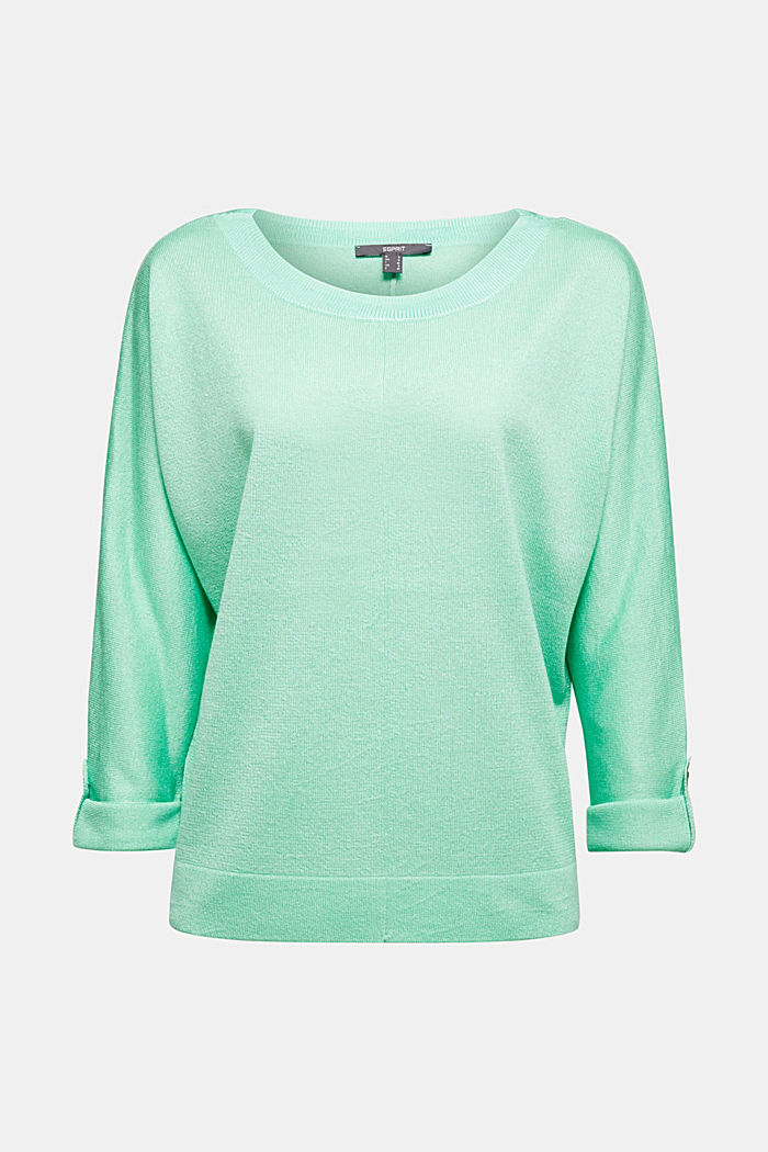 Jumper with batwing sleeves made of crêpe yarn, LIGHT GREEN, detail image number 6