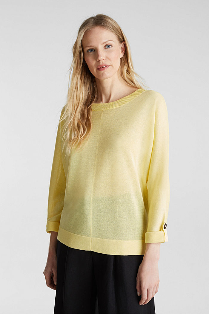 Jumper with batwing sleeves made of crêpe yarn, LIME YELLOW, detail image number 0