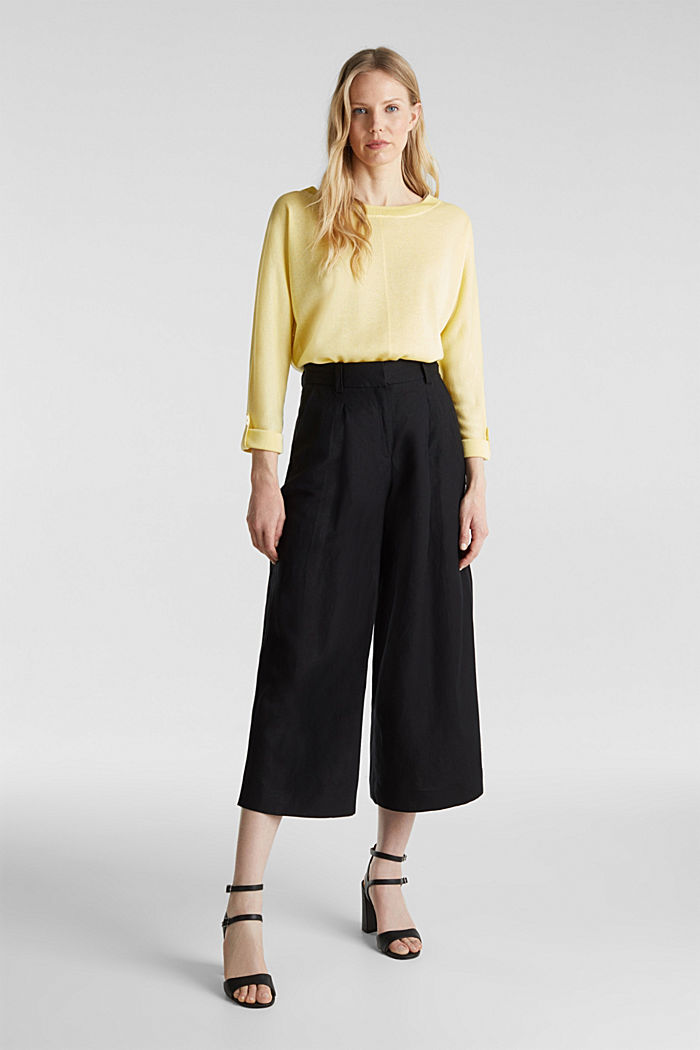 Jumper with batwing sleeves made of crêpe yarn, LIME YELLOW, detail image number 1