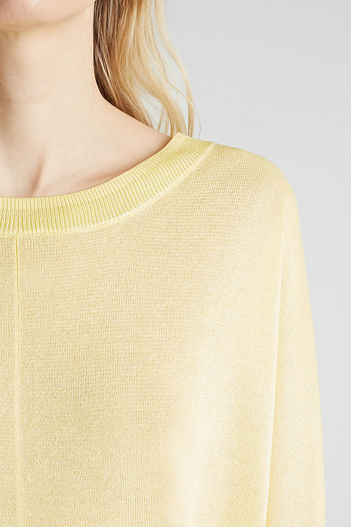 Jumper with batwing sleeves made of crêpe yarn, LIME YELLOW, detail image number 2