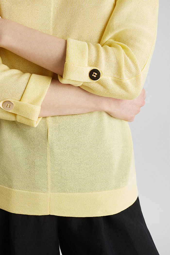 Jumper with batwing sleeves made of crêpe yarn, LIME YELLOW, detail image number 6
