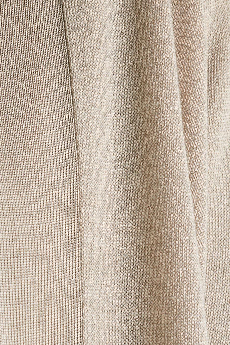 Open cardigan made of crêpe yarn, LIGHT BEIGE, detail image number 4