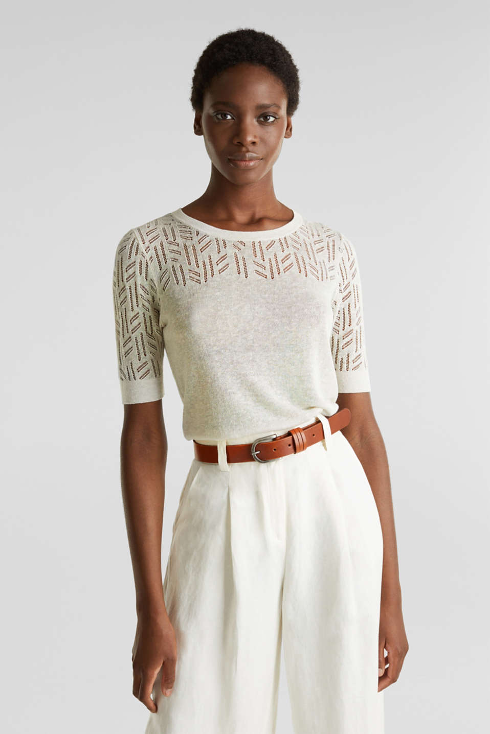 Esprit - Short-sleeved jumper with an openwork pattern in blended linen
