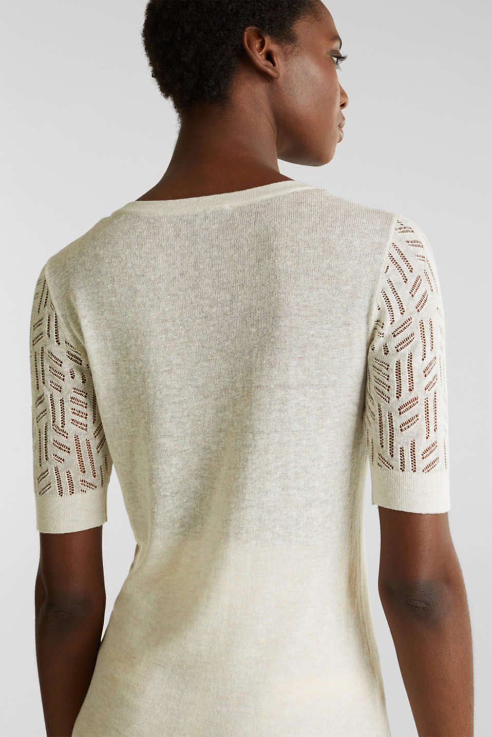 Short-sleeved openwork jumper with linen, ICE 5, detail image number 3