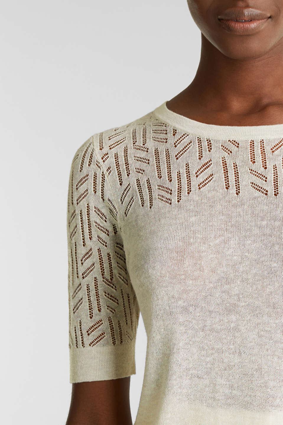 Short-sleeved openwork jumper with linen, ICE 5, detail image number 2